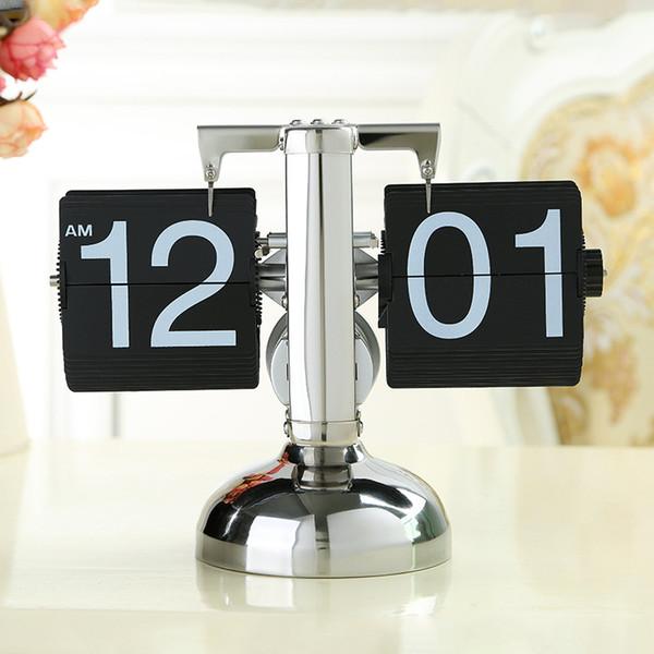 Wholesale-Black/White Despertador Small Scale Table Clock Retro Flip Over Clock Stainless Steel Flip Internal Gear Operated Quartz Clock