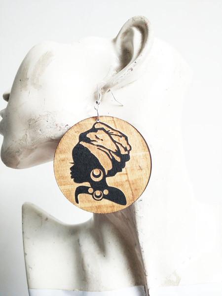 Livraison gratuite 2017 nouvelle tête africaine turban femmes silhouette bois boucle d'oreille pour dame, 1 couleur peut mélanger