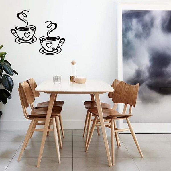 For 2 Coffee Cups Kitchen Wall Stickers Removable Cafe Vinyl Personality Interesting Art Decals Diy Decor Girls Wall Decals Girls Wall Stickers From