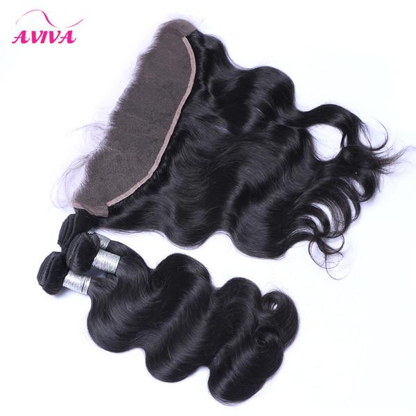 8A Ohr zu Ohr Spitze Frontal Verschlüsse Mit 3 Bundles Brasilianische Reine Haarkörperwelle Peruanische Indische Malaysische Kambodschanische Nerz Menschliche Haarwebart
