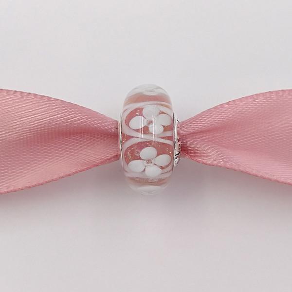 Otantik 925 Gümüş Boncuklar Pembe Alan Çiçekler Charms Avrupa Pandora Stil Takı Bilezikler Kolye Uyar Murano 791665