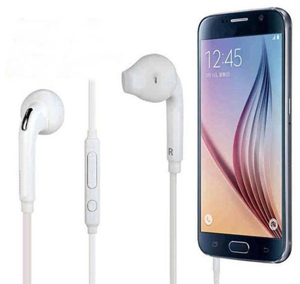 Headphone In-Ear Earphone Headset White 3.5mm with Mic Bass Earbuds For Samsung Galaxy S6 S7 with retail box