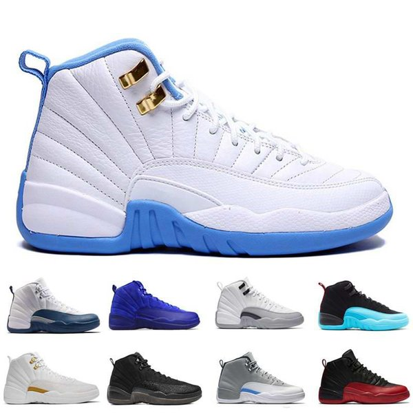 wholesale shoes 12s black Basketball shoes men XII 12s flu game sports footwear Athletic sneakers University blue free shipping