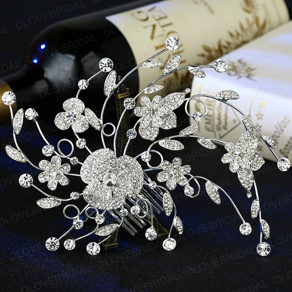 New Fairy Crystal Floral Bridal Hair Comb Delicate Romantic Rhinestone Wedding Prom Evening Party Headpieces Jewelry Accessory Free Shipping