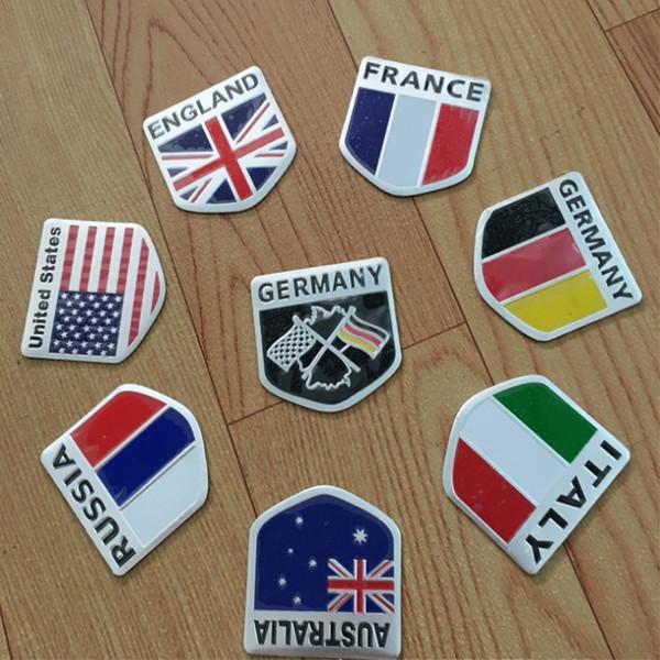 20 PCs / Pack 5cm*5cm Aluminium alloy 3D Car Map Emblem National Flags Auto Motorcycle Decal Decorating Accessories