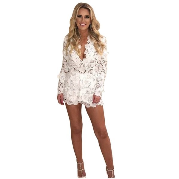 2 Piece Set Women Clothing 2018 Summer Sexy V-Neck Slim Long Sleeve Hollow Out Lace Cardigan ladies Shorts Sets Woman Suit