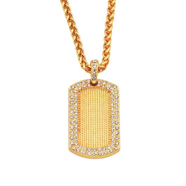 Los hombres de Hip Hop Joyería Etiqueta Colgante Collar Moda Rhinestone Diseño American Star Desgaste Popular 18 k Chapado En Oro Cadena Larga