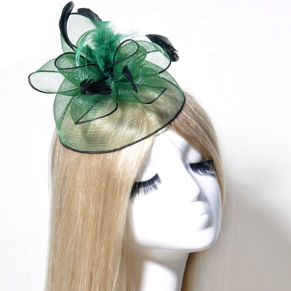 Vintage Handmade Fascinator Feather Net Hair Clip Cocktail Hat Wedding Evening Party Headdress Fancy Dress Accessory Green Hairpins Headwear