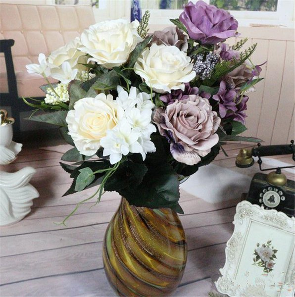 "European Silk Rose Bunch (11 stems/piece) 50cm/19.69"" Length Artificial Roses wite Hydrangea Petal Foam Fruit for Home Decor"