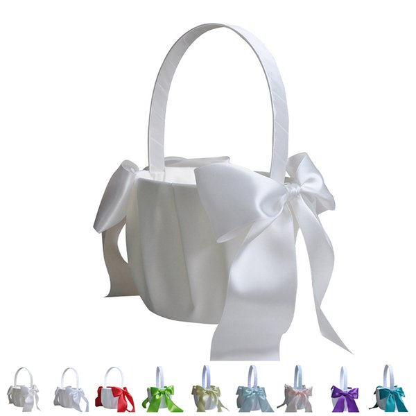 Romantic Bowknot Satin Wedding Ceremony Flower Girl Basket Bowknot Decor 9 Colors