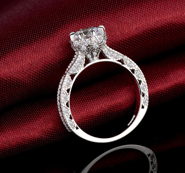 2018 New Grace Moments Classic 1 Ct CZ Wedding Rings S925 Marked Engagement Ring White Gold Filled Finger Rings