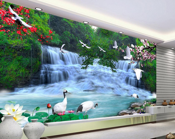 best selling HD beautiful waterfall landscape background wall mural 3d wallpaper 3d wall papers for tv backdrop