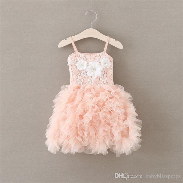 Kids Girls Ruffle Lace Dresses 2017 Baby Girls Tulle TUTU Dress Princess Flower Suspender Wedding Party Dress Children Boutique Clothing