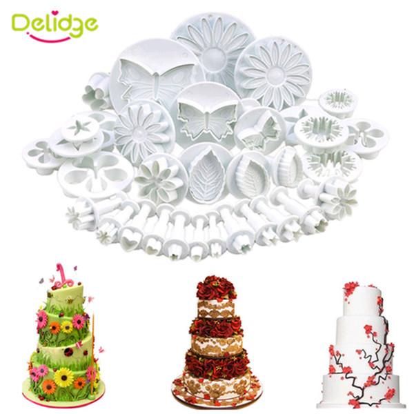 Delidge 33 pcs/lot 3D Flower Cake Mold Food-Grade Plastic Cookie Cutter Chocolate Fondant Cake Decoration Baking Utensils