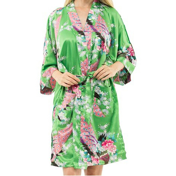 Wholesale- New Arrival Green Female Printed Floral Kimono Dress Gown Chinese Style Rayon Robe Nightgown Flower S M L XL XXL XXXL 20160415