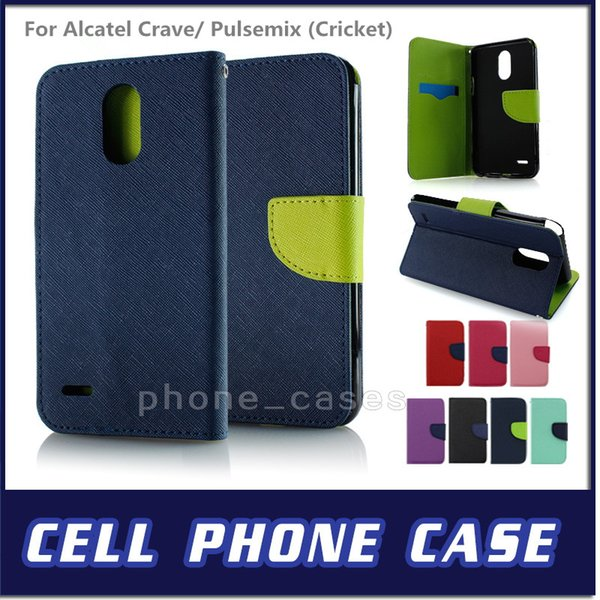 Wallet Case Flip PU Leather Defender Cover For Alcatel Crave/ Pulsemix  Cricket For LG Harmony Cricket Cell Phone Wallet Cheap Cell Phone Cases  From