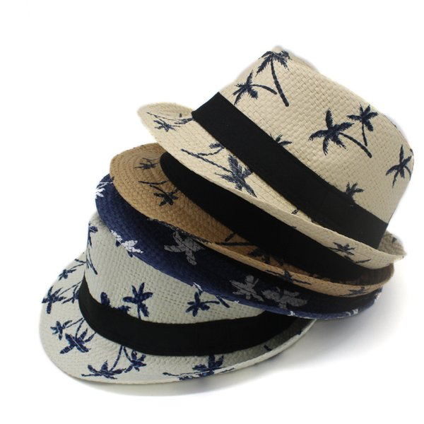 Maple Leaf Print Jazz Caps Hats for Men Women Children Fashion Fedora Straw Hats Fitted Campaniform Boys Girls Beach Sunhat