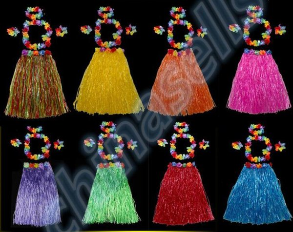 Plastic Fibers Women Grass Skirts Hawaiian Hula Skirt set cheerleaders costumes Ladies Dress Up Stage Wear 40CM 5PCS/set