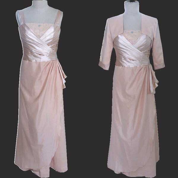 Real Image Mother of the Bride Dresses with Jackets Beads Crystals Ruched Sheath Column Mother's Formal Gowns Modest Wedding Guest Dress