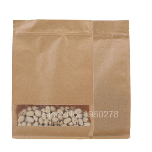 "20x30+8cm (7.75x11.75+3"") Recyclable brown Kraft Paper plastic packaging storage bag with clear window coffee bean tea snacks"