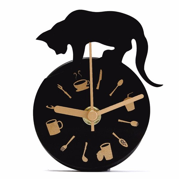 wholesale black plastic magnet clock refrigerator kitchen wall clock cat design for creative home decor - Designer Kitchen Wall Clocks