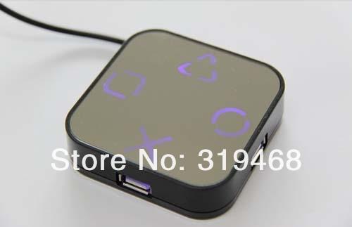 640pcs / lot RA haute vitesse 4 ports USB 2.0 HUB Splitter câble adaptateur Magic Mirror Design livraison gratuite 0001
