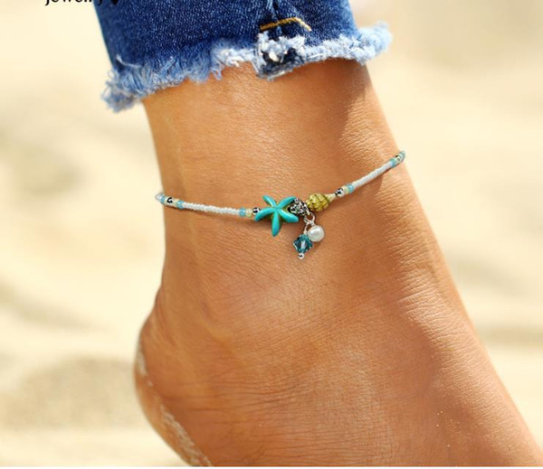 best selling Shell Anklet Beads Starfish Anklets For Women 2017 Fashion Vintage Handmade simulated Pearl Sandal Statement Bracelet Foot Boho Jewelry
