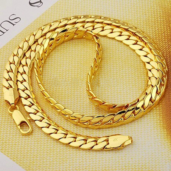 Chunky Snake Chain 24k Yellow Gold Filled Solid Mens Herringbone Necklace 24inch Long 9mm Wide , 74g