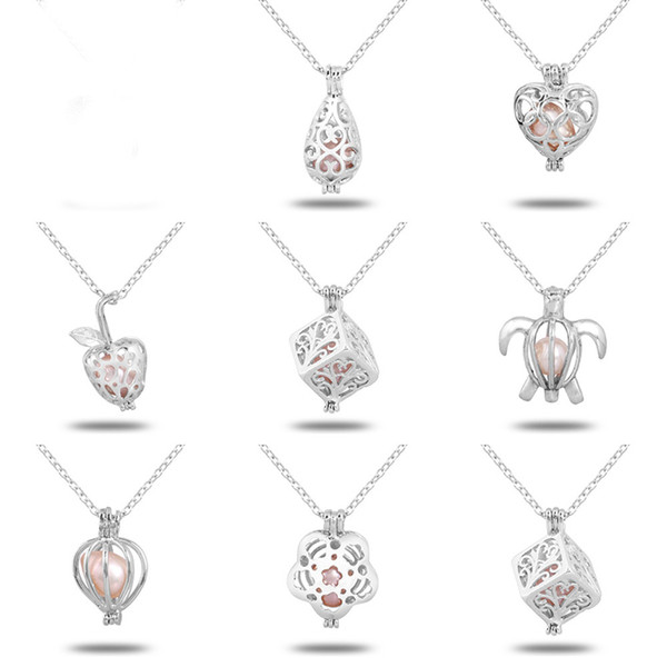 White Gold Pearl Cage Pendant Necklace Hollow Love Heart Necklaces With Oyster Pearl 18 Inches Link Chain