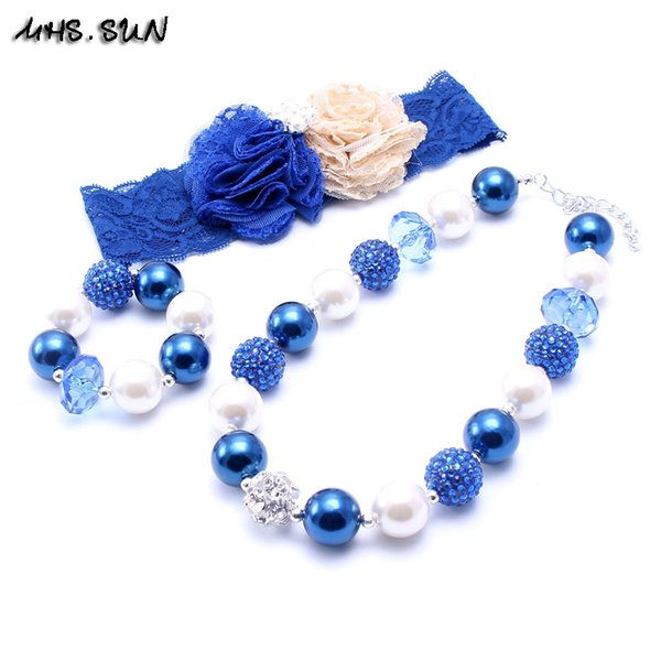 MHS.SUNR Navy Blue Color Necklace&Bracelet Headband 3PCS Set Birthday Party Gift Toddlers Girls Bubblegum Baby Kids Chunky Necklace Jewelry