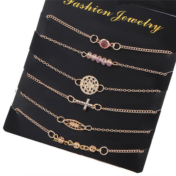Multilayer Gold Plated Crystal Cross Bracelets Set Bijoux Fashion Jewelry Beads Round Charm Bracelet Bangle for Women Pulsera 6pcs/set