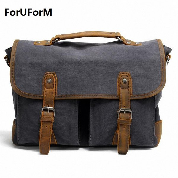 Wholesale- Retro Men 15inch Laptop Briefcase Business Shoulder Bag Canvas Messenger Bags Man Handbag Tote Bag Casual Travel Bag LI-1682