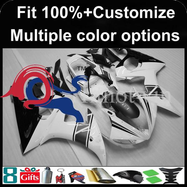 molde de inyección blanco carenado de la motocicleta conjunto negro para Yamaha YZFR6 2003-2004 03 04 2003 2004 YZFR6 03-04 carenado plástico ABS
