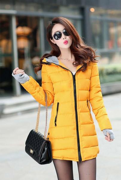 Women's Hooded Baumwolle gefütterte Jacke Winter Medium-Long Baumwollmantel Plus Size Daunenjacke Female Slim Damen Jacken Mäntel BL1215