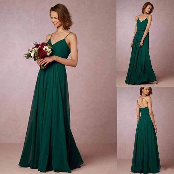 1f7f9ad412a Cheap 2017 Dark Green Flow Chiffon Bridesmaid Dresses Spaghetti Straps  Bohemian Maid Of Honor Gowns For Country