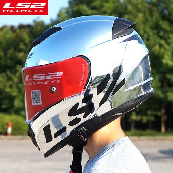 Original LS2 FF390 Breaker Split Motorcycle Helmets with inner sun shield Chrome Full face racing motorbike helmets S M L XL XXL