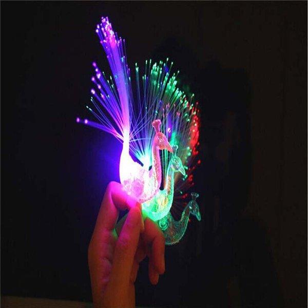 El dedo de la fibra óptica del pavo real que destella del LED enciende los anillos para Raves o el color mezclado del anillo del favor de partido