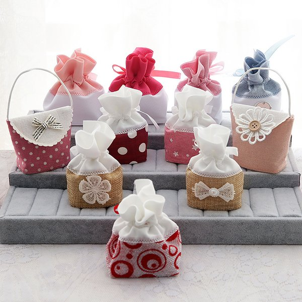 New Arrival Wedding/Party/Birthday Party Favor Holders Candy Bags Gift Bags Woven Printing Fabric Multi Colors and Styles