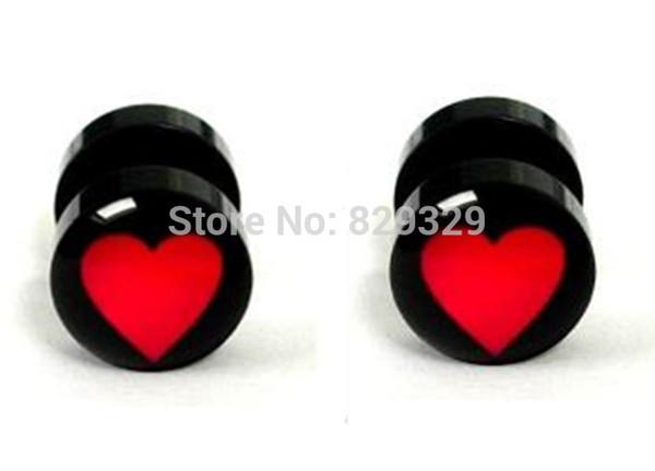 Logotipo do coração acrílico tapeador falso plugues de ouvido brinco stud ilusão plugs falsos tamanho 10mm * 1.2mm FEP011