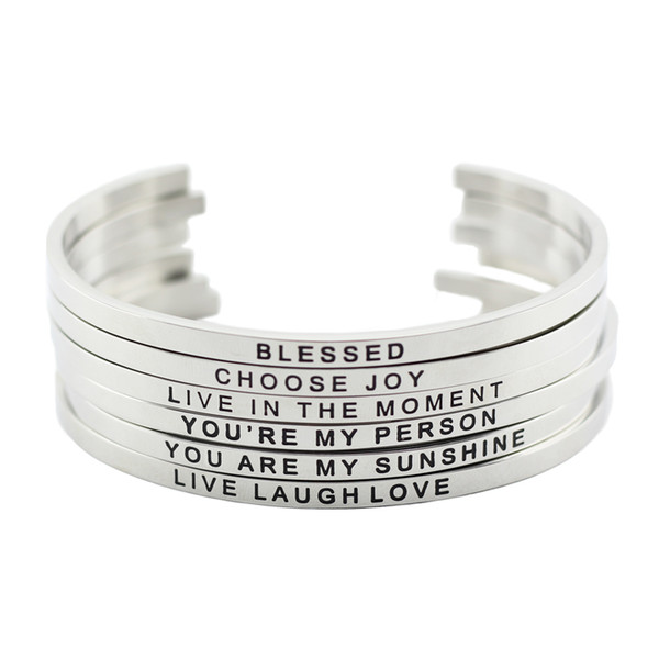 best selling New arrival! 316L Stainless Steel Engraved Positive Inspirational Quote Cuff Mantra Bracelet Bangle for women men