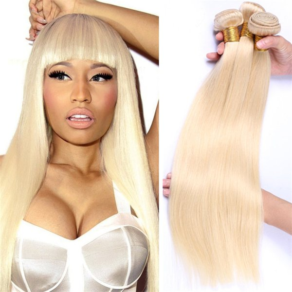Platinum Blonde Peruvian Straight Hair Weaves 3Pcs #613 Blonde Virgin Peruvian Human Hair Bundles Blonde Hair Extensions 300G/Lot