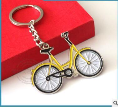 Metal small yellow bike car keychains of the lacquer that bake OFO sharing bike design key chain functional souvenirs