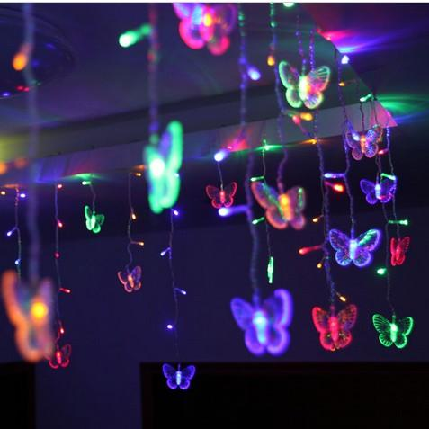 3.5M*0.6M LED Butterfly string AC110V-220V Waterproof Curtain holiday Lights Christmas new year Garland Wedding Decor