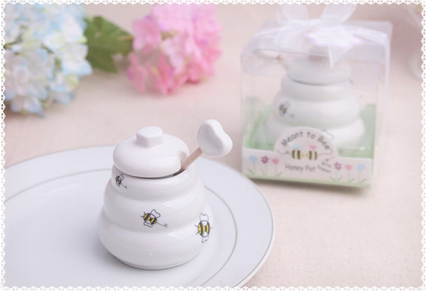 "Free DHL/Fedex 100pcs ""Meant to Bee"" Ceramic Honey Pot Wedding Gift Porcelain Honey Jar Wedding gifts and Favors Supplies"