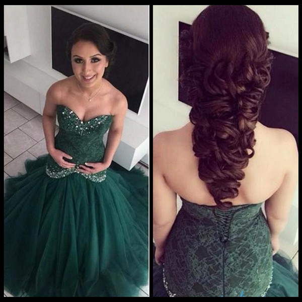 2017 Hunter Green Arabic Mermaid Prom Dresses Sweetheart Crystals Lace Appliques Lace Up Back Vestidos De Fiesta Evening Gowns