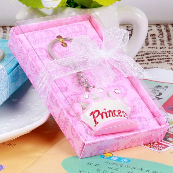 100pcs rosa principessa blu principessa corona design portachiavi nuziali nozze baby shower favore regali portachiavi regalo di natale