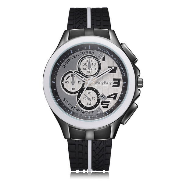 free shipping Mcykcy brand men's sports outdoor watch high-end meeting silicone watch round
