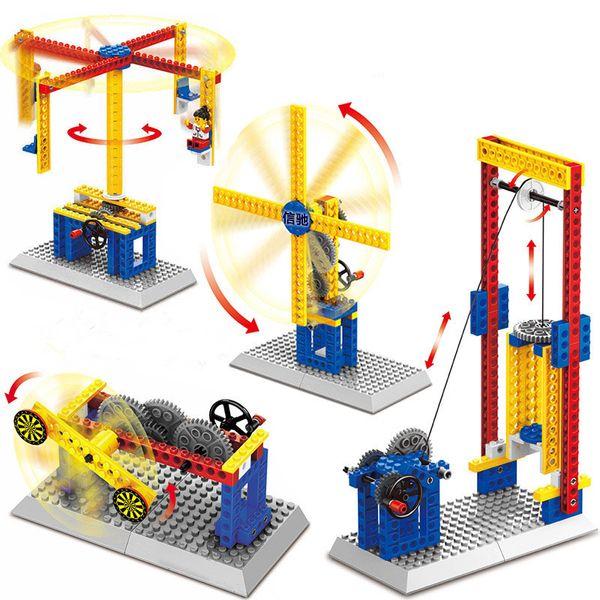 best selling Kids Diamond building blocks toys Little Mechanical Engineer toys Windmill Merry-Go-Round Shooting Machine Lift blocks Children's educationa