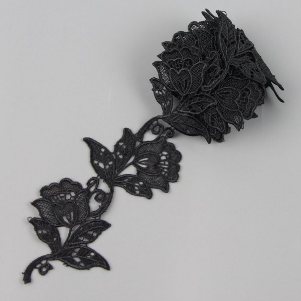 2 Yards Black Rose Flower Lace Venice Applique Sewing Trims S10508