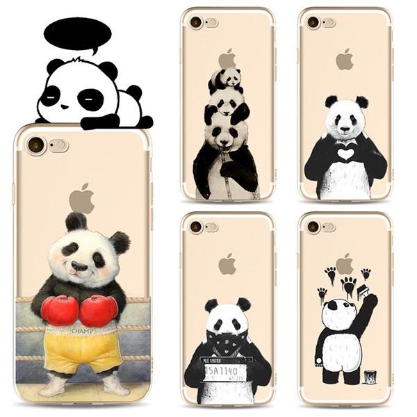Satın Al Güzel Karikatür Panda Tpu Boyama Cep Telefonu Kılıfı Için Iphone 5 S 6 S 7 Artı Kılıf Ultra Ince Yumuşak Pc Geri Silikon Telefon K 096